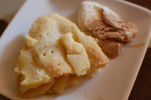 apple pie served with ice cream