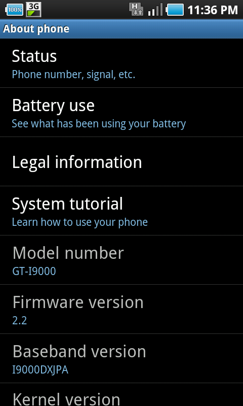 Samsung Galaxy S Froyo Firmware Version
