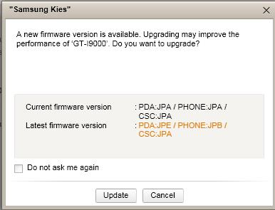 samsung galaxy s 2.2.1 firmware update with kies